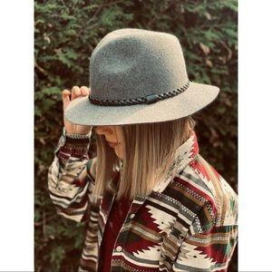 WOOL grey with black braid boho western hat